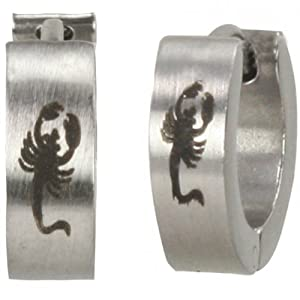Stainless Steel Scorpion Huggie Hoop Earrings