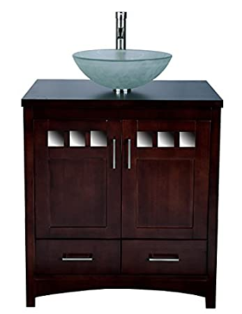 "30"" Bathroom Vanity Cabinet Black Stone Granite Top Ceramic Vessel Sink TR8"