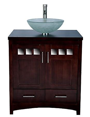 "30"" Bathroom Vanity Cabinet Black Stone Granite Top Ceramic Vessel Sink TR8"