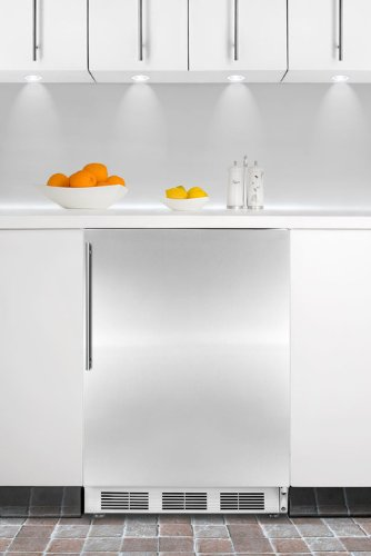 Summit CT66JBISSHV Built-in Undercounter Refrigerator-freezer with White Cabinet, Stainless Steel Door, and Thin Handle (Slim Refrigerators With Freezer compare prices)