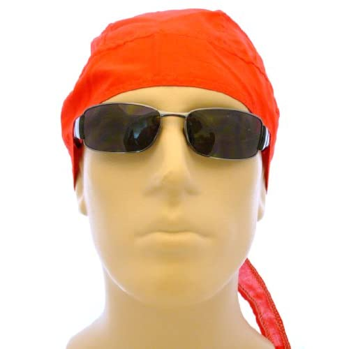 RED Solid Color Bikers Cap/ Head Wrap/ Medical Cap/ Skull Cap/ Welders Cap/ Bandana, Breathable 100% Cotton, One Size to Fit Most Men, Women and Teens, Suitable for Athletes, Medical, Welding, Healthcare, Bikers, Truckers, Painters, Gardeners, Restaurants