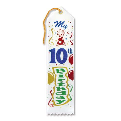 "My 10th Birthday Award Ribbon 2"" x 8"" Party Accessory - 1"