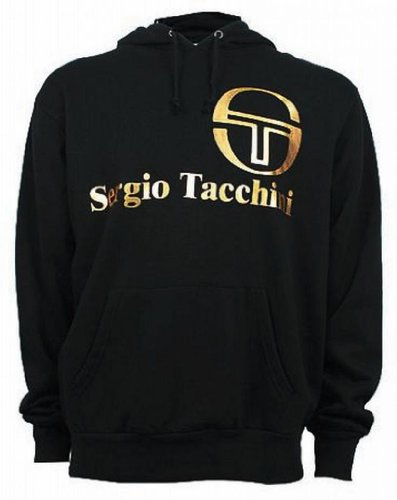 Sergio Tacchini Men's Classic Hooded Hoodie Hoody Sweatshirt Top black/gold Large
