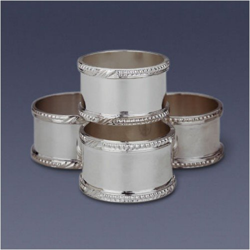WATERFORD FINE SILVER BEADED ACANTHUS NAPKIN RINGS-SET(S) OF 4 - Buy WATERFORD FINE SILVER BEADED ACANTHUS NAPKIN RINGS-SET(S) OF 4 - Purchase WATERFORD FINE SILVER BEADED ACANTHUS NAPKIN RINGS-SET(S) OF 4 (WATERFORD FINE SILVER - Made in Not Specified, Home & Garden, Categories, Kitchen & Dining, Tableware)