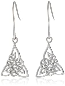 Sterling Silver Celtic Knot Triquetra Dangle Earrings