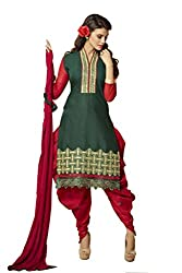 Pruthu Cotton, Chiffon Embroidered Salwar Suit Dupatta Dress Material (pbd_013_Green_Red_Free_Size)
