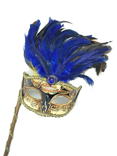 Venetian Mysterious Musical Mardi Gras Masquerade Mask w/ Blue Feather and Stick