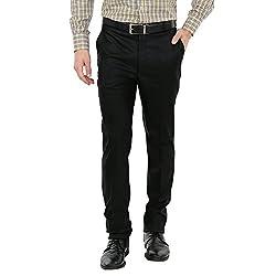Zido Men'S Slim Fit Black Formal Trouser_ZI15051_Black