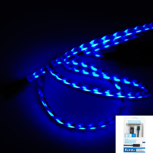 Imz (Tm) Black Blue Visible Flowing Led El Light Micro Usb Sync Data Charging Charger Cable For Samsung Galaxy S4 S3 S I9500, Note 3 2 Iii Ii, Epic 4G Touch, Skyrocket, Galaxy Attain, Galaxy Note, Galaxy Nexus, Galaxy S, Galaxy Pocket, Rugby Smart And Mor
