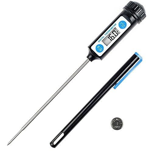Anpro Thermomètre de Cuisson,Cuisine Thermomètre Numérique Digital Avec Sonde longue et LCD Ecran pour Nouriture, Viande, Huile, Lait, Vin, BBQ et Eau chaude - Noir