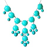 Jane Stone Statement Turquoise Bubble Chunky Necklace in Silver Tone (Fn0508-S-Turquoise)