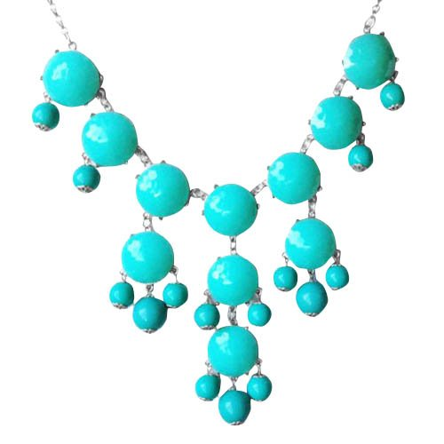 Turquoise Bubble Necklace in Silver Tone (Fn0508-S-Turquoise)