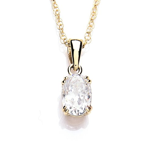 9ct Yellow Gold Swarovski Enlightened C.Z. Oval Solitaire Pendant 46cm Chain