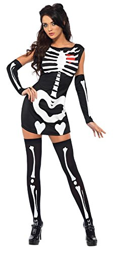 Fever Women's Sexy Skeleton Costume with Dress and Gloves Glow In The Dark