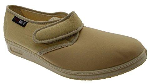 pantofola velcro cotone elasticizzato beige fisioterapia extra large 36 beige