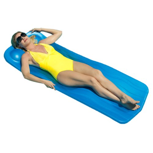 Swimming Pool Float With Headrest Unsinkable Foam Raft Uv Resistant Blue Ebay
