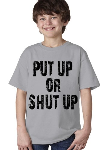 Put Up Or Shut Up Youth T-Shirt / Weight Lifting, Body Building, Crossfit Work Out Tee-Grey-X-Large