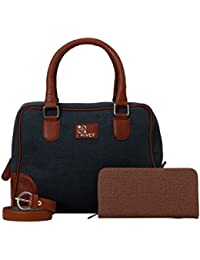 Rivet Dark Blue Hand Bag With Brown Belt & Ladies Wallet - B01EMRN43Q