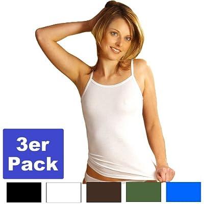 HERMKO 1560 3er Pack Damen Träger Top aus 100 % EU-Baumwolle, Hemd mit Spaghettiträger zertifiziert nach ÖKO-Tex Standard 100 by HERMKO