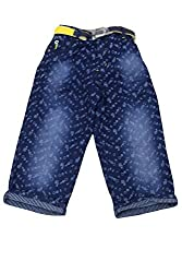 Titrit Blue Denim Printed Capri for Boys