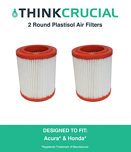 2 Round Plastisol Air Filter Fits Acura RSX, Acura CSX Canada, Honda Truck, Honda Civic & More, Compare to Part # A25456 & CA9493, Designed & Engineered by Think Crucial