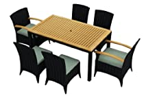 Hot Sale Arbor 7 Piece All-Weather Wicker Patio Dining Set with Sunbrella Canvas Spa (5413-0000) Cushions