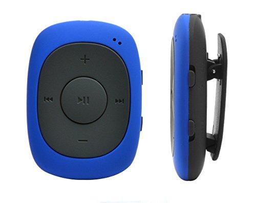 AGPTek G02 Mini-clip lettore MP3 8 GB con Radio FM, Blu