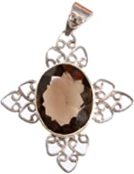 Exotic India Faceted Smoky Quartz Pendant - Sterling Silver - B0054JTK80