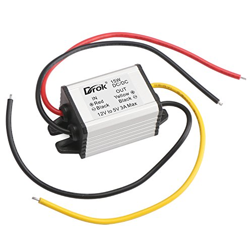 DROK® Micro elettrica Volt Buck Converter 12V a 5V 3A / 15W DC a DC Car Auto modulo di alimentazione del veicolo di potenza step-down trasformatore di tensione Volt Regolatore Inverter Board con impermeabile di caso di alluminio
