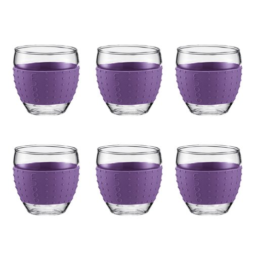 Bodum Pavina Glasses 3 Ounce With Thermo Silicone Grip, Set Of 6 - (Purple)