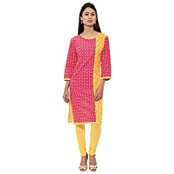 GIVE YOUR WORDROBE A LITTLE PINK N YELLOW SEASONING WITH THIS JAIPUR ATTIRE PRINTED DESIGNER COTTON KURTI IN POLKA DOTTED PINK N YELLOW , COVERS YOUR KNEES, ROUND NECK COLLAR , 3/4 SLEEVES, YELLOW BACK, WEAR THIS WITH YELLOW LEGGINGS OR CHIDUDAAR.