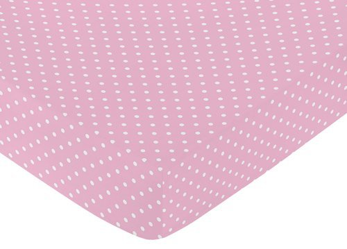 Fitted Crib Sheet for Skylar Baby/Toddler Bedding - Pink Polka Dot (Crib Sheet Turquoise compare prices)
