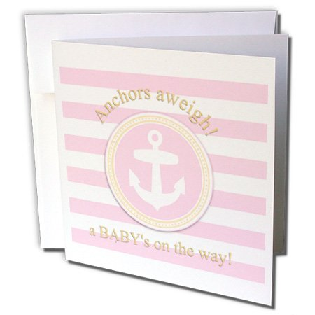 3Drose 8 X 8 X 0.25 Inches Anchors Aweigh A Baby'S On The Way For Pink Nautical Girl Baby Shower Greeting Cards, Set Of 12 (Gc_179693_2)