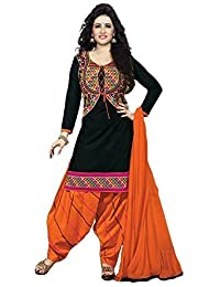 Little Lady Women's Cotton Silk Salwar Suit (LADYDM45_Black_Free Size)