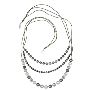 Three Row Grey and Pink Genuine Swarovski Crystallized Simulated Pearl and Hematite Necklace, 28""