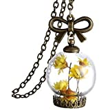 Banggood Fashionable Yellow Flower Clear Glass Bottle Pendant Necklace Jewelry Gift