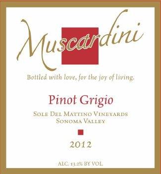 2012 Muscardini Cellars Pinot Grigio Sonoma Valley Sole Del Mattino Vineyards 750 Ml