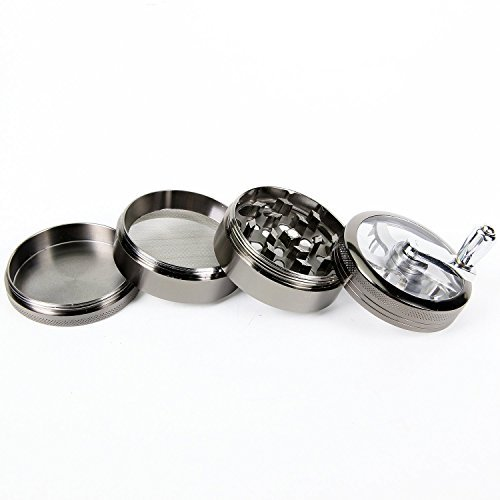 Tobacco/Spice Grinder Chromium Metal Herb Grinder with Mill Handle 4 Parts 2.5 Inches (Grinder With Crank compare prices)