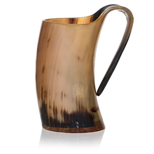 Tankard with Burlap Bag by Weirwood | Polished Viking Drinking Ox Horn |
