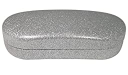 Best Premium Large Sunglasses/Eyeglass Case - O\'Meye® Hard Metal Core Clamshell, Pouch, Premium-Lens® Cleaning Cloth, 100% Satisfaction Guarantee! Dazzling Glitter (MS87 Sassy Silver)