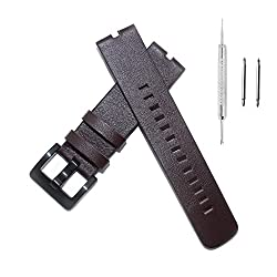 Fitian New Replacement Leather Watch Strap Band for Moto 360 Smart Watch Motorola Wristband with Free Screen Protector (Brown Leather Strap)