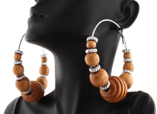 Natural Poparazzi Wooden Honeycomb Style 2.75 Inch Hoop Earrings with Mini Balls and Loops