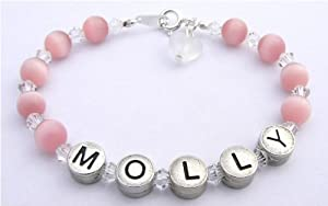 personalized Name Bracelet Pink Cats Eye and Crystals from Occasions Emporium