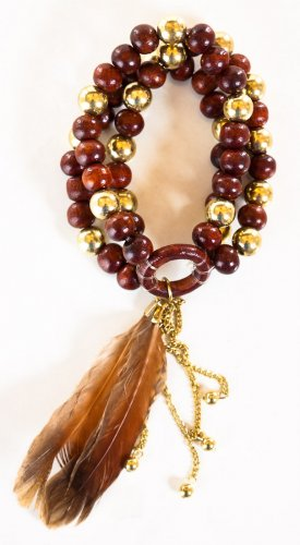 Zad Fashion Inc 3 Line Wood, Gold Metal & Feather Elastic Bracelet