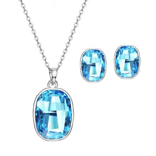 """Neoglory Platinum Plated Blue Square Crystal Jewelry Sets Earrings Necklace 18.5"""""""