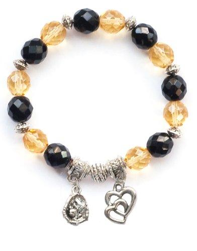 """Softball Glove & Ball"" Girls Softball Bracelet (Team Colors Black & Gold)-Small"