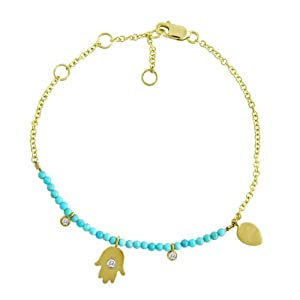 Meira T 14k Yellow Gold Turquoise Beaded Diamond Hamsa Bracelet Accented with Bezel Set Diamonds