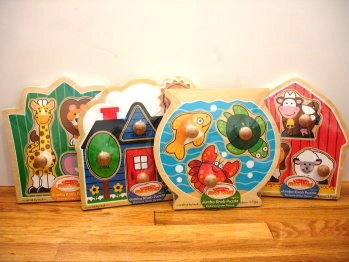 Picture of Fun Melissa and Doug Jumbo Knob 4-Piece Puzzle Set (B0036VLGEE) (Pegged Puzzles)