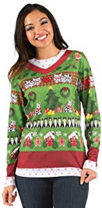 Womens Ladies Ugly Christmas Sweater Long Sleeve Tee by Faux Real