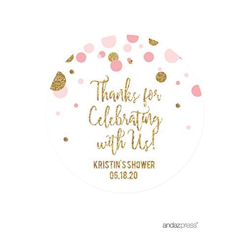 Andaz Press Blush Pink Gold Glitter Girl Baby Shower Party Collection, Personalized Round Circle Label Stickers, Thank You for Celebrating With Us, 40-Pack, Custom Name (Personalized Party Stickers compare prices)